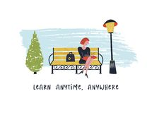 Learn anytime anywhere. Vector illustration. Girl sitting on a bench in the Park and reading a book stock illustration