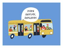 Learn anytime anywhere. Vector illustration. A group of people, men and women, ride in a yellow bus and read books and textbooks. You can always find time for vector illustration