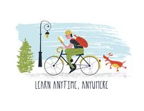 Learn anytime anywhere. Vector illustration. A young man riding a bike and reading a book. Nothing can distract him from learning. Even the dog that runs after vector illustration