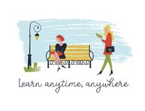 Learn anytime anywhere. Vector illustration. People read books. Always and everywhere. Girl walking and reading a book. Another girl is sitting on a bench stock illustration