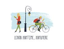 Learn anytime anywhere. Vector illustration. People read books. Always and everywhere. Guy rides a bike and reads a book. Girl walking and reading a textbook stock illustration