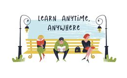 Learn anytime anywhere. Vector illustration. People read books. Always and everywhere. A guy and two girls sit on a bench in the Park and read books vector illustration