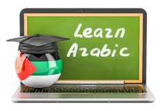Learn Arabic concept with laptop blackboard, graduation cap. Learn Arabic concept with laptop blackboard, graduation cap and flag of Arab, 3D Stock Photos