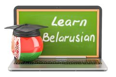 Learn Belorussian concept with laptop blackboard and graduation. Cap, 3D Royalty Free Stock Photography