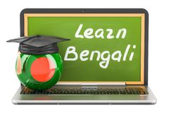 Learn Bengali concept with laptop blackboard, graduation cap. Learn Bengali concept with laptop blackboard, graduation cap and flag of Bangladesh, 3D Stock Photos