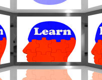 Learn On Brain On Screen Showing Educational TV Shows Stock Photography
