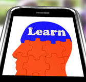Learn On Brain On Smartphone Showing Human Training Royalty Free Stock Images