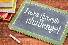 Learn through challenge - blackboard concept Royalty Free Stock Images
