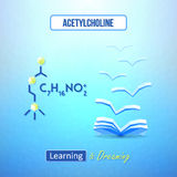 Learn chemistry concept. Chemical poster with acetylcholine formula. Learning and dreaming inspirational design Royalty Free Stock Photo