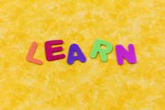 Learn children word words letters learning abc. Learn children word words letters teach school learning plastic color foam abc knowledge stock image