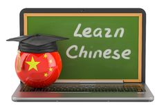 Learn Chinese concept with laptop blackboard and graduation cap,. 3D Stock Photos