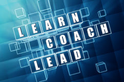 Learn, coach, lead in blue glass cubes Royalty Free Stock Photos