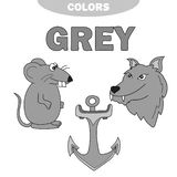 Learn The Color Gray - things that are gray color. Education set. Illustration of primary colors. Vector illustration. wolf, anchor, mouse royalty free illustration