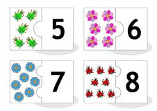 Learn counting puzzle cards, numbers 5 - 8 Stock Photo