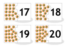 Learn counting puzzle cards with frog eggs, numbers 17-20. Learn counting 2-part puzzle cards to cut out and play, frog eggs themed, numbers 17 - 20 royalty free illustration