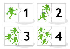 Learn counting puzzle cards with frogs, numbers 1 - 4 Stock Photo