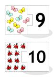 Learn counting puzzle cards, numbers 9, 10. Learn counting 2-part puzzle cards to cut out and play, with butterflies and ladybugs, numbers 9, 10 stock illustration