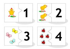 Learn counting puzzle cards, numbers 1 - 4. Learn counting 2-part puzzle cards to cut out and play, with chicks, butterflies, ladybugs, numbers 1 - 4 vector illustration