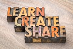Learn, create, share concept in wood type. Learn, create, share concept in vintage letterpress wood type printing blocks Stock Images