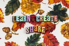 Learn create share fulfillment stock photography