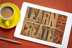Learn, create and share word abstract on tablet royalty free stock image
