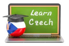 Learn Czech concept with laptop blackboard and graduation cap, 3. D Royalty Free Stock Photos