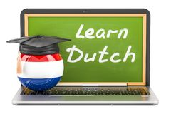 Learn Dutch concept with laptop blackboard, graduation cap and f. Lag of Netherlands, 3D Stock Photo