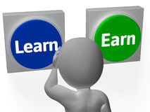 Learn Earn Buttons Show Career Or Training Royalty Free Stock Images