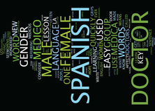 Learn An Easy Spanish Lesson Text Background  Word Cloud Concept Stock Image