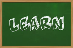 Learn. Educational concept the word Learn written with chalk on green chalkboard Stock Images