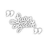 Learn Engish. Calligraphic dotworking font. Unique Custom Characters. Hand Lettering for Designs - logos, badges Stock Photo