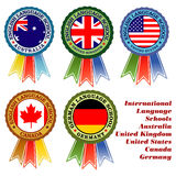 Learn english. Five vector emblems for international language schools Royalty Free Stock Image
