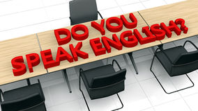 Learn English. 3d design. Do you speak english text, tables and chairs Stock Photography
