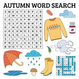 Learn English with an autumn word search game for kids. Vector i Stock Photo