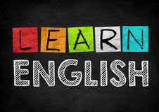 Learn English. Black chalkboard concept Royalty Free Stock Image