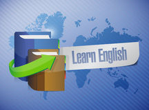 Learn english book sign illustration design. Over a world map Stock Photos