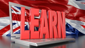 Learn english with computer stock video footage