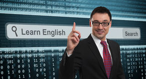 Learn english concept. Business man and Learn english concept Stock Photos