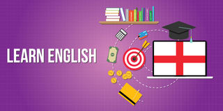 Learn english concept with dictionary books Royalty Free Stock Image