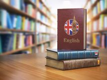 Learn English concept. English dictionary book or textbok with f Royalty Free Stock Image