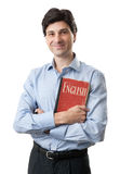 Learn English. Concept. Man with book Royalty Free Stock Photos