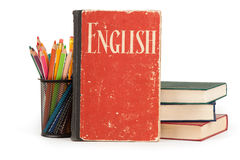 Learn English concept. School supplies and books Royalty Free Stock Photos