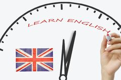Learn English concept. Time to Learning languages.  Royalty Free Stock Photos
