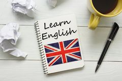 Learn English concept. Time to Learning languages.  Royalty Free Stock Photography