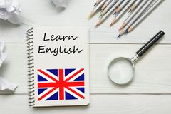 Learn English concept. Time to Learning languages.  Royalty Free Stock Photo
