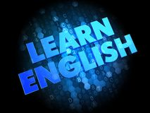 Learn English on Dark Digital Background. Royalty Free Stock Photos