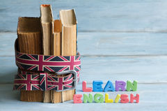 Learn english education concept with books and letters Royalty Free Stock Images