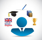 Learn english educational icons diagram Royalty Free Stock Photo