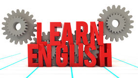Learn English and gearwheel Royalty Free Stock Image
