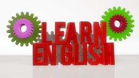 Learn English and gearwheel Stock Image